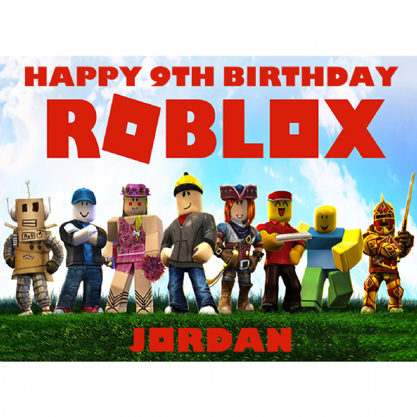 ROBLOX PERSONALISED RECTANGLE EDIBLE BIRTHDAY CAKE TOPPER